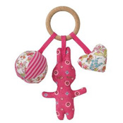 Wooden Ring with Rattle Toys Fuchsia